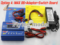 Free shipping Original IMax B6 AC B6AC Digital LCD Lipo NiMh 2s - 6s battery Balance Charger +adapter+switch board(option 4)