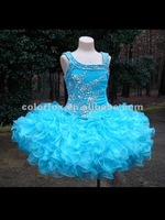 Adorable One Shoulder Neckline Fitted and Beaded Bodice Ruffled Short Skirt Party Gown For Kids