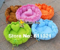 5 Color Pet Puppy Dog Cat Soft Pet Bed House Sleeping Bag Warm Cushion + Heart Pillow Size S L V3289