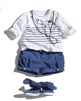New Free shipping!Clothing white shirt + short pants ,baby girl clothing 5sets/lot free shipping