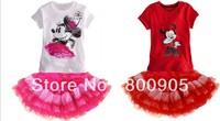 5pcs/lot 2013 children's summer clothing kids character micky top tee + tutu skirt girls 2 pcs set XZQ