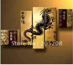 100% Handpainted Huge Wall Art Dragon Chinese Modern Painting (NO FRAME)(China (Mainland))