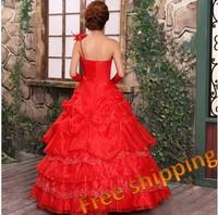 2013 red wedding dress one shoulder tube top the bride wedding dress formal dress