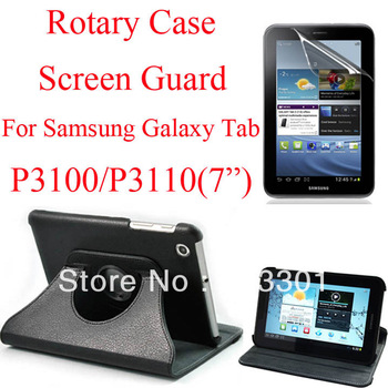 "Free shipping rotary stand case for samsung galaxy tab P3100 7"" tablet PC and screen protector, P3100/P3110 screen guard"