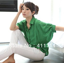 2013 new Promotions hot trendy cozy women blouse shirts Fashion bat sleeve back button waist solid color blouse(China (Mainland))