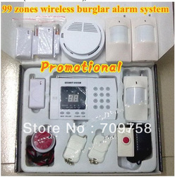 99 zones wireless alarm system home alarm system+2 PIR sensor+3 door sensor+1 panic button+1 smoke detector+1 pet immunity PIR(China (Mainland))