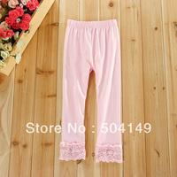 free shipping Wholesale baby lace trim leggings girl leggings 5pcs