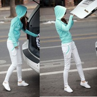 2012 spring and autumn sports set female 100% cotton casual sweatshirt set thick slim