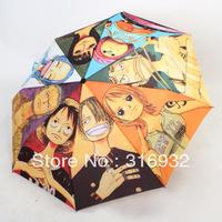 Free shipping 2013 Novelty items Cartoon One Piece designer 3 Folding Manual Umbrella,