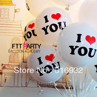 M3 Free shipping 100pcs/lot , 12 inch I LOVE YOU printed latex round balloons