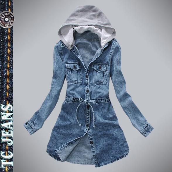 2013 fashion jeans jacket women clothing medium long detachable cap casual denim drawstring slim waist outerwear female(China (Mainland))