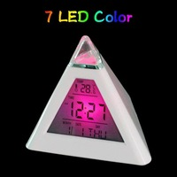 1lot=40pcs Best selling Glowing LED 7 Color Change Digital Alarm Mood Clock, Multifunction music led Colourful clock