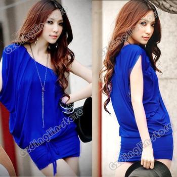 Hot Women Lady Clothing Stylish One Shoulder Cotton Blend Sexy Clubwear Party Evening Mini Dress Vestidos Blue Black S 0239