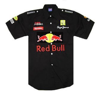 Black cotton short sleeve shirt motor racing  shirt,f1 road  racing shirt,nascar racing shirt