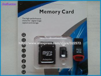 Wholesales- Memory 4GB 8GB 16GB 32GB micro sd card  + adapter +reader- free shipping