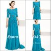 1366 customer made Top selling Fashion off the shoulder Court train turquoise mother long sleeves lace evening dress