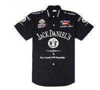 F1 car racing short sleeve shirts  black color for Jack Daniel motorcycle rider shirt