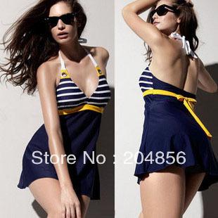 free shipping swimsuits Swimwear female swimwear navy style one-piece dress hot spring swimwear plus size swimwear