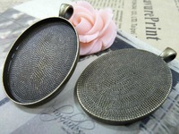 20PCS Inner:30X40mm  Alloy Antique Bronze Blank Tray Pendant Necklace Base Cameo Setting DIY Jewelry Finding