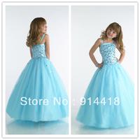 Freeshipping Designer Style Wholesale Price Sequins Bodice Children Party Dresses Floor-length Tulle Flower Girl Dress Blue