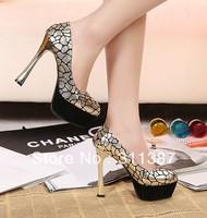 Туфли на высоком каблуке 2013 spring new platform pumps sexy high heels ladies wedding shoes woman fashion girls party glitter SXX32341