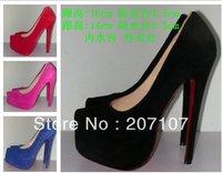 Daffodil shoe, black dress high heels/14cm, 16cm heels big size 35-42 red bottom shoes