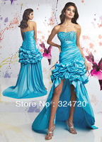 2014 New Formal beautiful Hi-low strapless Aqua Blue Prom Dresses Style 70026 wholesale free shipping