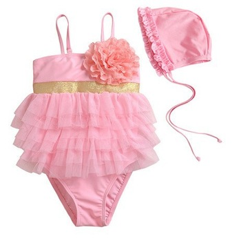 discount 5pcs/lot  kids swimsuits for girls swimming wear one-piece swimwear +CAP beach wear  free shipping