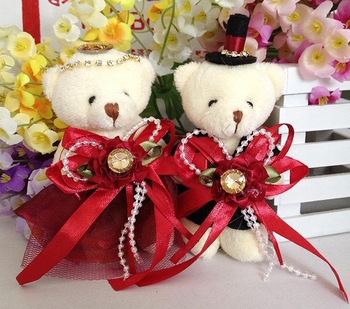 Look! Lovely Soft Plush Toy Dress Couple Teddy Bears for Wedding/Birthday Gifts Decorative Doll Set  24pcs/lot Punk Style