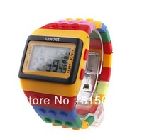 Free Shipping Multi Color Block Brick Style Automatic Wrist Watch with Night Light