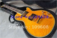 Free shipping/with hard case G-Custom LP shop New arrival yellow color White binding Gold hardware Electric Guitar