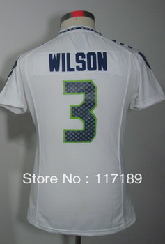 wholesale and retail-fast shipping #3 Russell Wilson Women's Game White Football Jersey,accept mix order