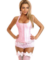 Women bustier satin Sexy Lingerie lady intimates Pink Brocade Full-Back Corset 817