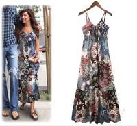 Cotton floral maxi sun dress cotton cloth flower spaghetti strap sexy one-piece dress