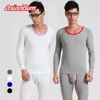 Asianbum male underwear set long johns long johns 100% cotton fashion big o-neck basic thermal underwear set