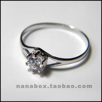 Hearts and arrows 925 pure silver platinum diamond ring zircon wedding ring