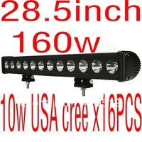 cheap shipping  28.5 inch 10w super USA cree x16pcs 160w led light bar driving offroad ATV light SUV boat,bus,and tanks