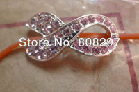 DIY! 30mm plated Silver & Pink Rhinestone Sideways Breast Cancer Shape Connector Beads Fittings 30pcs/lot