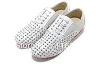 Free shipping Men white sheepskin silver nail sets foot single shoes fashion evening party dress rivet shoes W650
