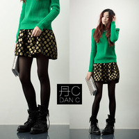 Free shipping new fashion winter woolen short skirt women's houndstooth miniskirt