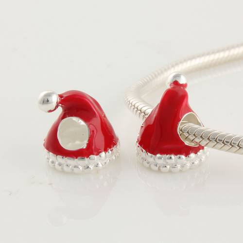 Free Shipping 925 Sterling Silver Enamel beads Christmas Red Hat Fits Chamilia European Charm Bracelet DY066(China (Mainland))