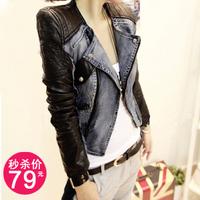 2012 fashion handsome patchwork rivets slim motorcycle jacket denim leather coat female