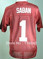 Alabama Crimson Tide Nick Saban 1 Crimson College Football Jersey free shipping accept mix order