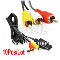 10Pcs/Lot Audio Video AV Composite RCA Cable for Nintendo Wii  9703