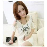 Free Shipping Korean Cool Summer Girls Women Off Shoulder Slim Long T-shirt Letter Printing White