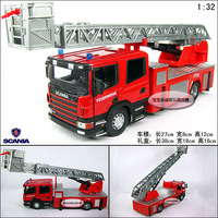 free shipping Scania giant ladder truck luxury gift box set alloy car model