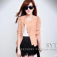 2012 autumn women's fashion vintage shoulder pads chain casual blazer slim short jacket