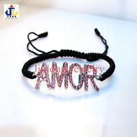 New Arrival silver tone Micro pave dark pink CZ crystal alloy AMOR shamballa bracelets.wholesale jewelry.Free shipping LEB012