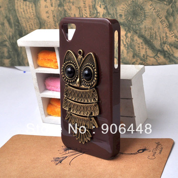 Dark coffee cell phone case with triangle hole antique bronze owl for iphone 4 4S, DIY handmade cover 1PCS