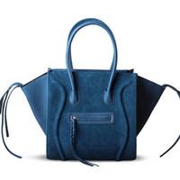 free shipping handbag designer names high quality women's fashion smile tote ladies genuine suede leather satchel trapeze hobo